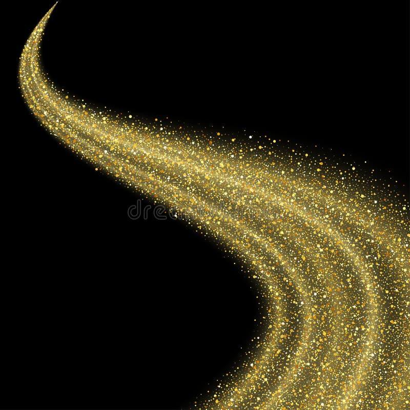 Abstrakt vektorguldstoft blänker stjärnavågen vektor illustrationer