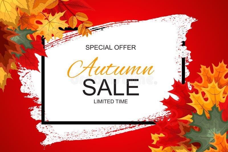 Abstrakt vektorillustration Autumn Sale Background med fallande Autumn Leaves royaltyfri illustrationer