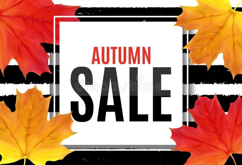 Abstrakt vektorillustration Autumn Sale Background med fallande Autumn Leaves vektor illustrationer