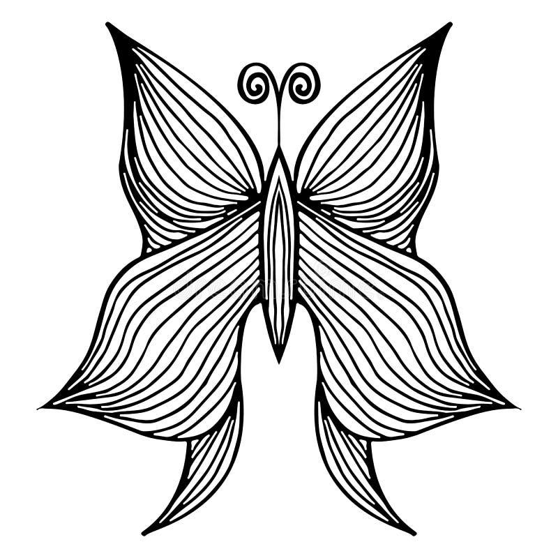 Abstrakt vektorillustration av den utdragna fj?rilen f?r hand som isoleras p? vit bakgrund F?rgpulverteckning, grafisk stil royaltyfri illustrationer