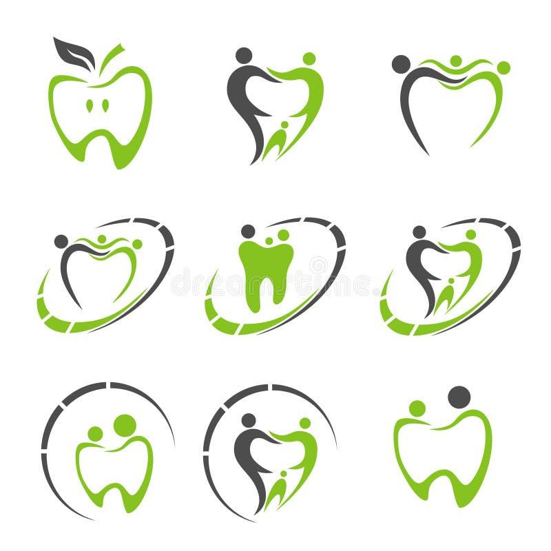 Abstrakt vektorillustration av tänder tand- logo royaltyfri illustrationer