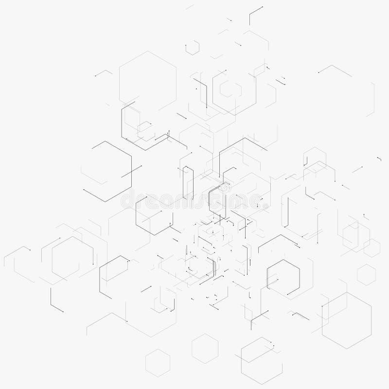 Abstrakt vektorillustration med sexhörningar, linjer och prickar på vit bakgrund Sexhörning Infographic Begrepp för Digital tekno royaltyfri illustrationer