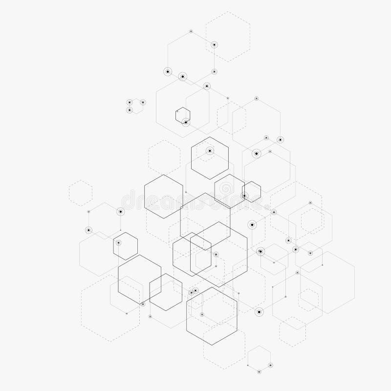 Abstrakt vektorillustration med sexhörningar, linjer och prickar på vit bakgrund Sexhörning Infographic Digital teknologi royaltyfri illustrationer
