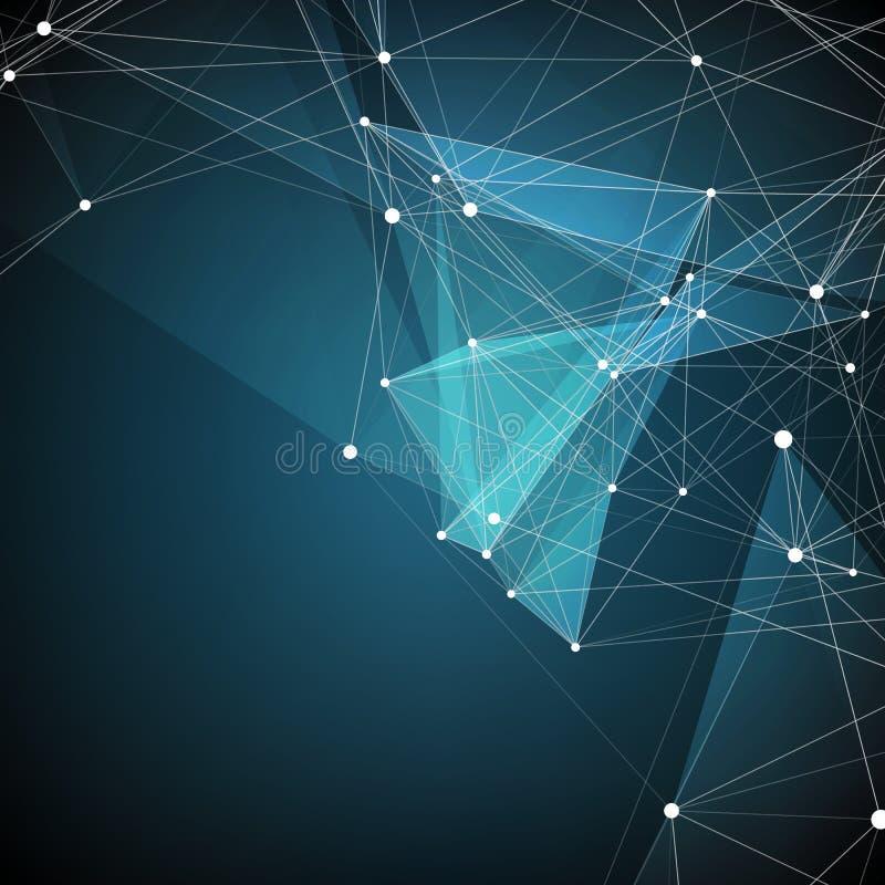 Abstrakt vektoringreppsbakgrund Kaotiskt förbindelsepunkter och polygoner som flyger i utrymme Flygskräp vektor illustrationer