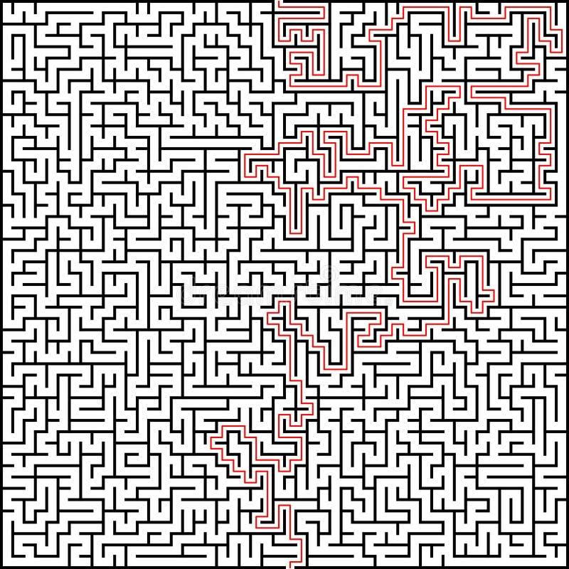 Abstrakt vektorlabyrint av hög komplexitet med stock illustrationer