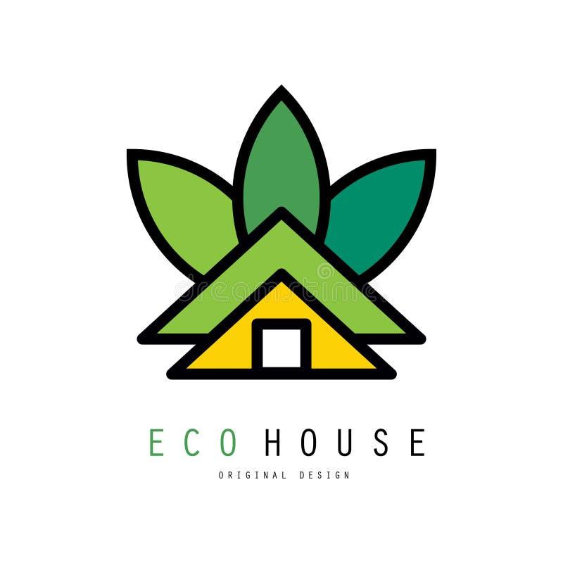 Abstrakt vektorlogo av det gröna huset Eco vänskapsmatchhem Original- emblem för byggfirma eller fastighetbyrå stock illustrationer