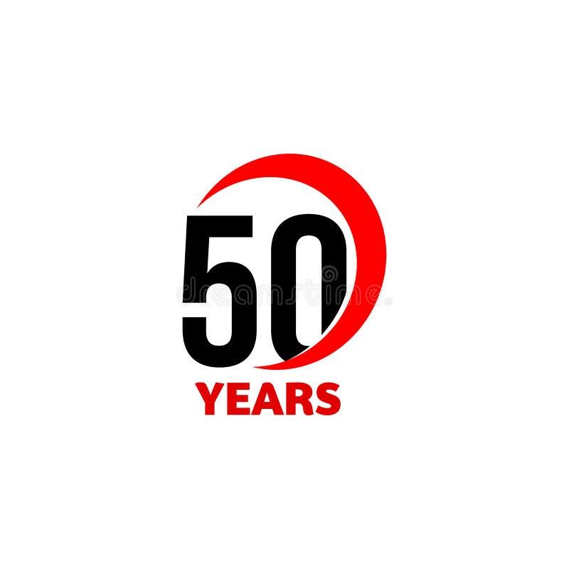 abstrakt vektorlogo för 50th årsdag Dagsymbol för lycklig födelsedag femtio Svartnummer i röd båge med text 50 år vektor illustrationer