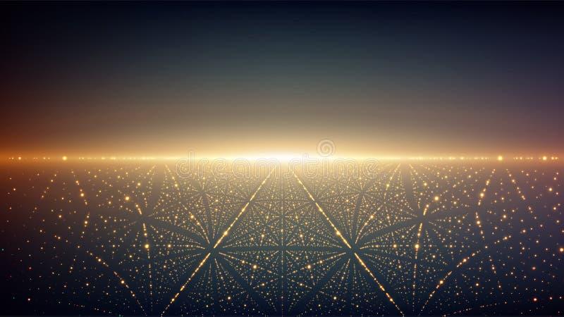 Abstrakt vektoroändlighetsbakgrund Glödande stjärnor med illusion av djup och perspektivet A vektor illustrationer