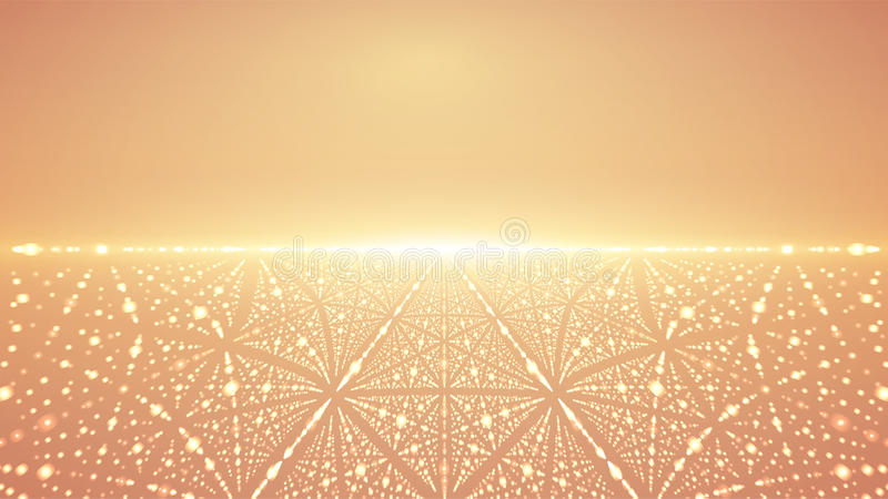 Abstrakt vektoroändlighetsbakgrund Glödande stjärnor med illusion av djup och perspektivet royaltyfri illustrationer