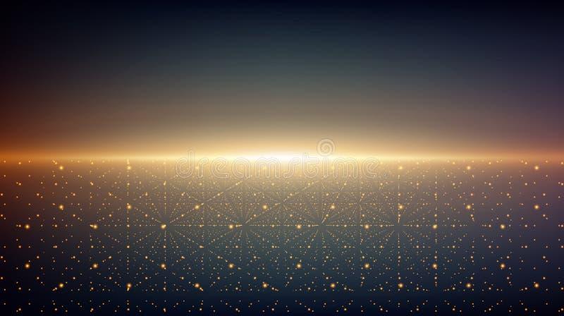 Abstrakt vektoroändlighetsbakgrund Glödande stjärnor med illusion av djup och perspektivet Ab stock illustrationer