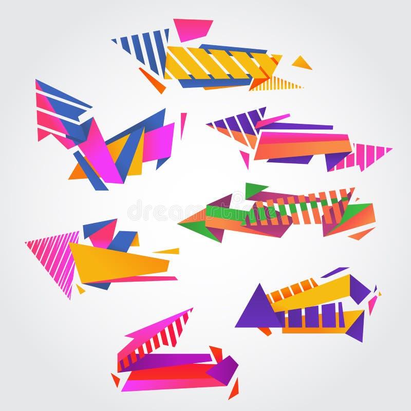 Abstrakt vektorpacke av moderna färgrika pilar vektor illustrationer