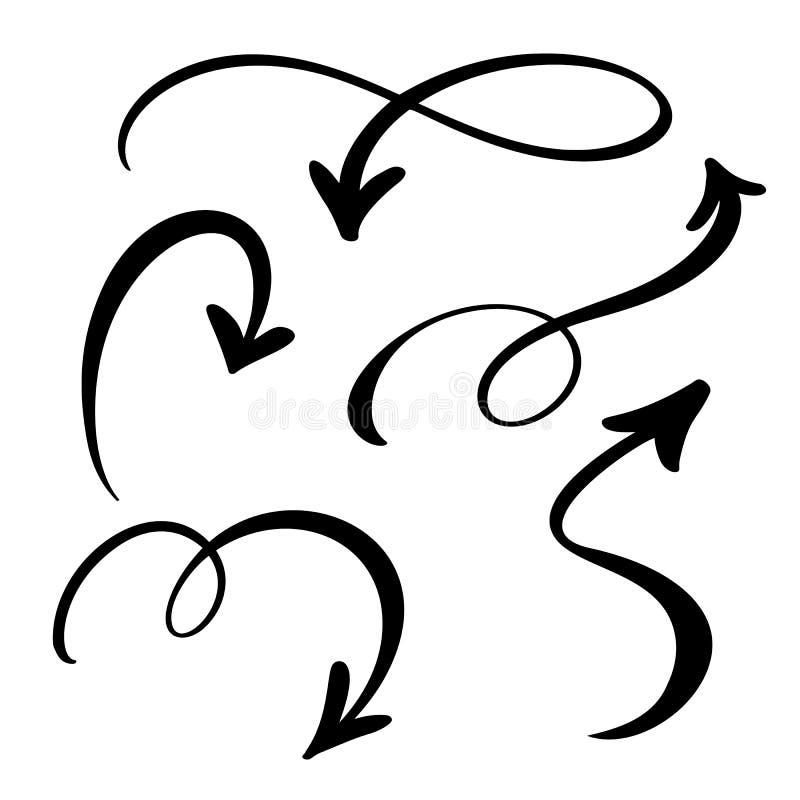 Abstrakt vektorpiluppsättning Klotterhanden - gjorde markörstil Isolerat skissa illustrationen för anmärkningen, affärsplanet, di vektor illustrationer