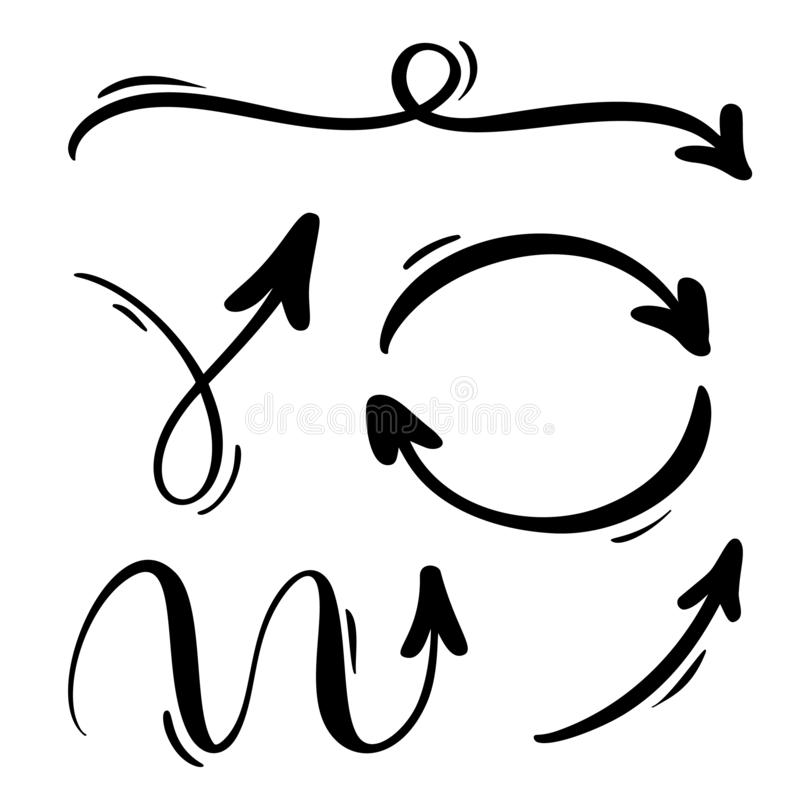 Abstrakt vektorpiluppsättning Klotterhanden - gjorde markörstil Isolerat skissa illustrationen för anmärkningen, affärsplanet, di royaltyfri illustrationer