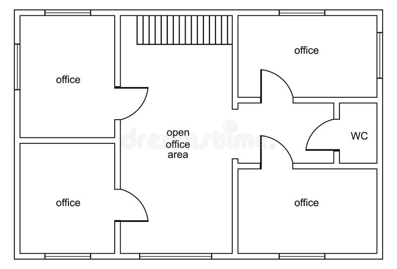 Abstrakt vektorplan av kontorsbyggnad vektor illustrationer