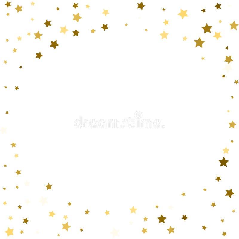 Abstrakt vektorrundabakgrund med guld- stjärnabeståndsdelar Glitte royaltyfri illustrationer