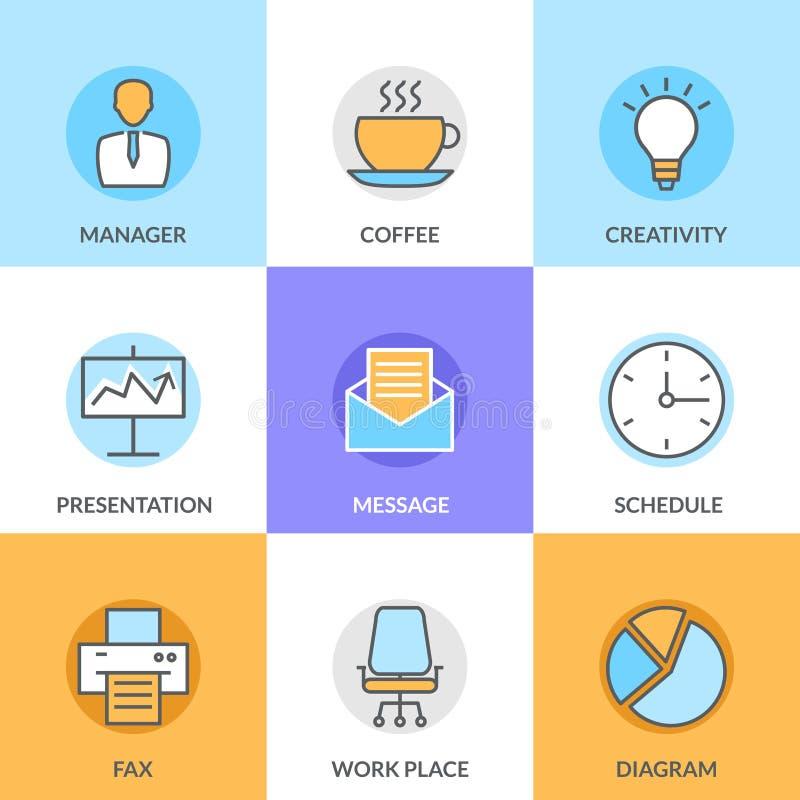 Abstrakt vektorsamling av den plana linjen kontor och affärssymboler Beståndsdelar för mobil och rengöringsdukapplikationer stock illustrationer
