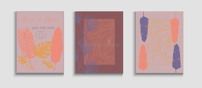 Abstrakt vektortäckesuppsättning för vektorgrafik Inbjudan till japanska format Tie-Dye vektor illustrationer