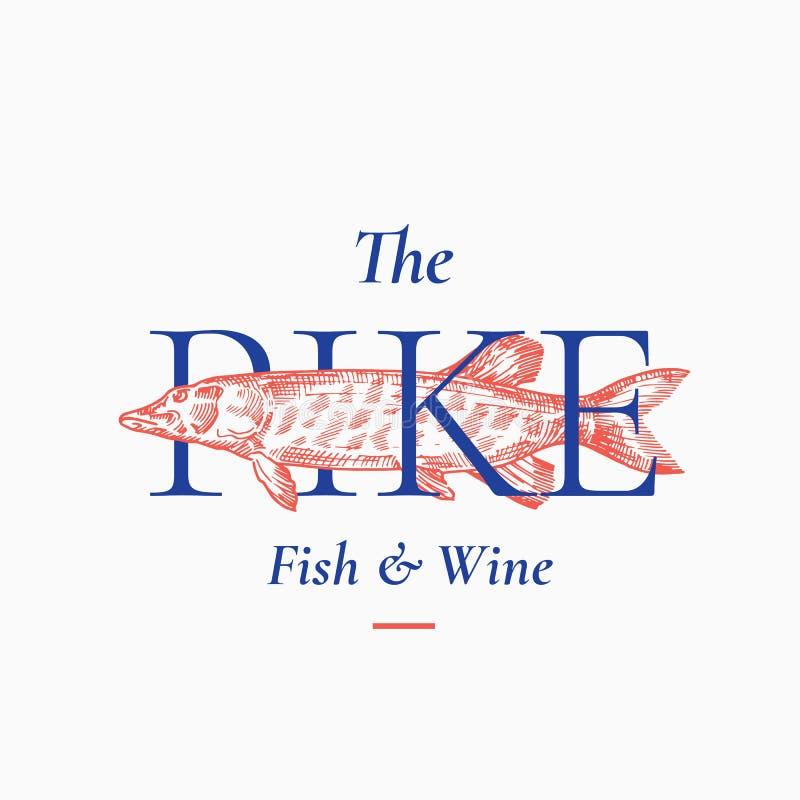 Abstrakt vektortecken för fisk och för vin, symbol eller Logo Template Hand dragen pikfisk med flott Retro typografi högvärdigt royaltyfri illustrationer