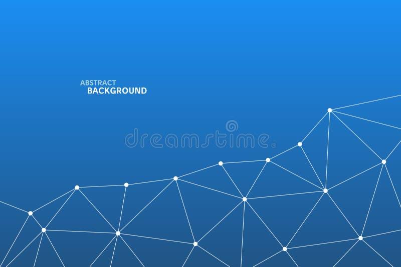 Abstrakt vektortriangelmodell Geometrisk polygonal nätverksbakgrund Infographic illustration för affärsprojektet, mall royaltyfri illustrationer