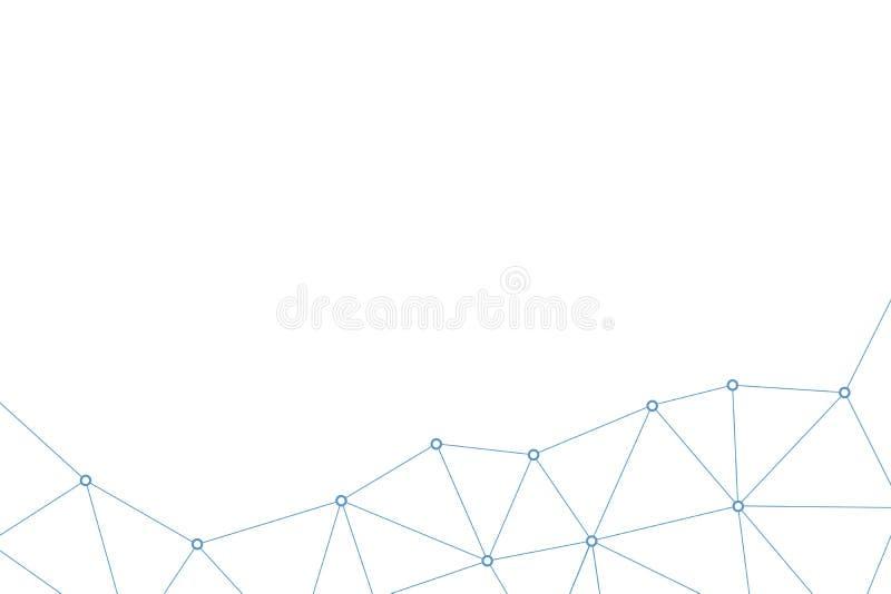 Abstrakt vektortriangelmodell Geometrisk polygonal nätverksbakgrund Linjer och infographic illustration för cirkelanslutning vektor illustrationer