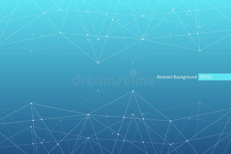 Abstrakt vektortriangelmodell Geometrisk polygonal nätverksbakgrund molekylär struktur Infographic vetenskaplig illustration royaltyfri illustrationer