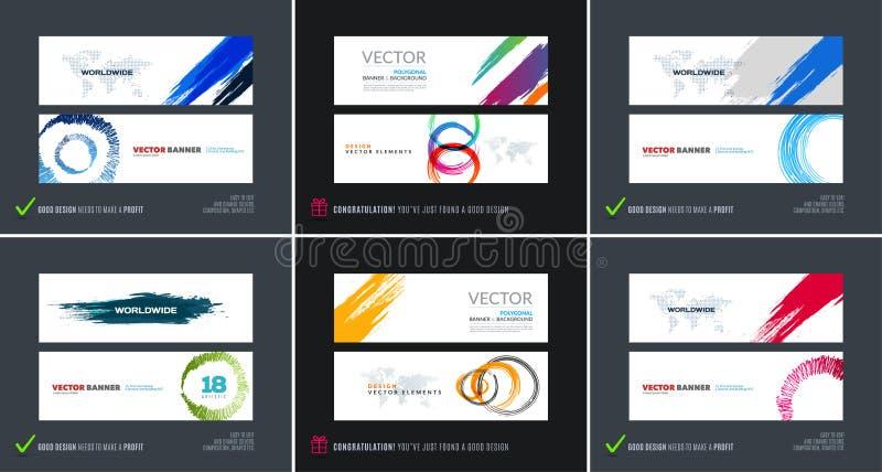 Abstrakt vektoruppsättning av moderna horisontalwebsitebaner royaltyfri illustrationer