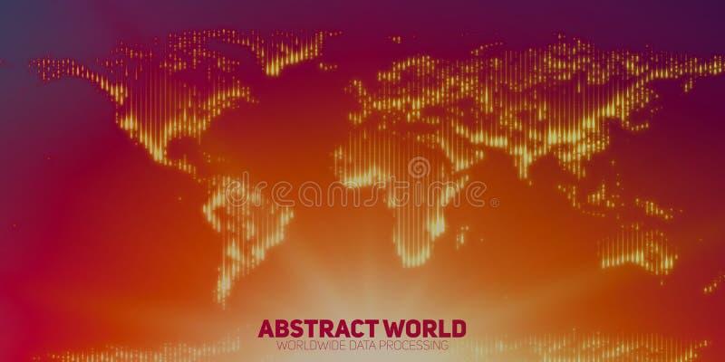 Abstrakt vektorvärldskarta som konstrueras av glödande punkter Kontinenter med en signalljus i botten stock illustrationer