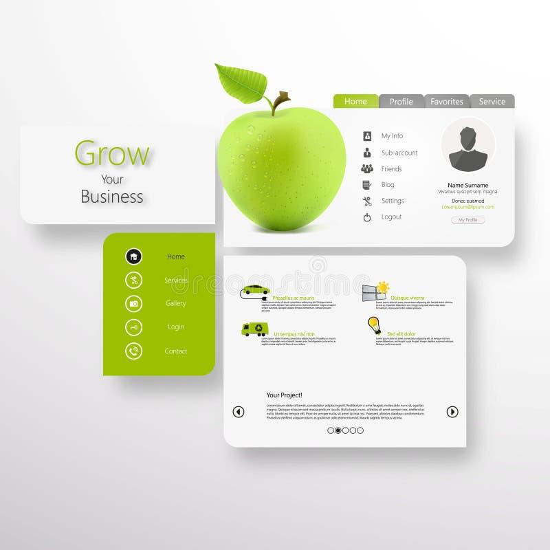 Abstrakt vektorvit-gräsplan website med det gröna äpplet vektor illustrationer