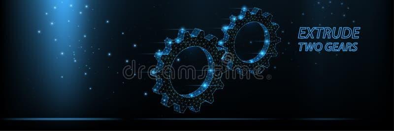 Abstrakt vektorwireframe pressade ut två kugghjul från linjer och trianglar, punktförbindande nätverk på mörk bakgrund illustrati royaltyfri illustrationer