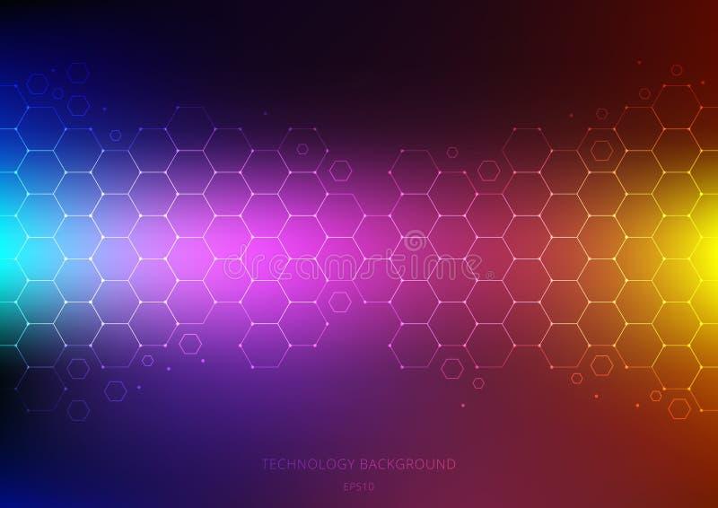 Abstrakt vetenskap och teknikbegrepp från sexhörningsmodell med knutpunkt på vibrerande färgbakgrund Strukturmolekyl och vektor illustrationer