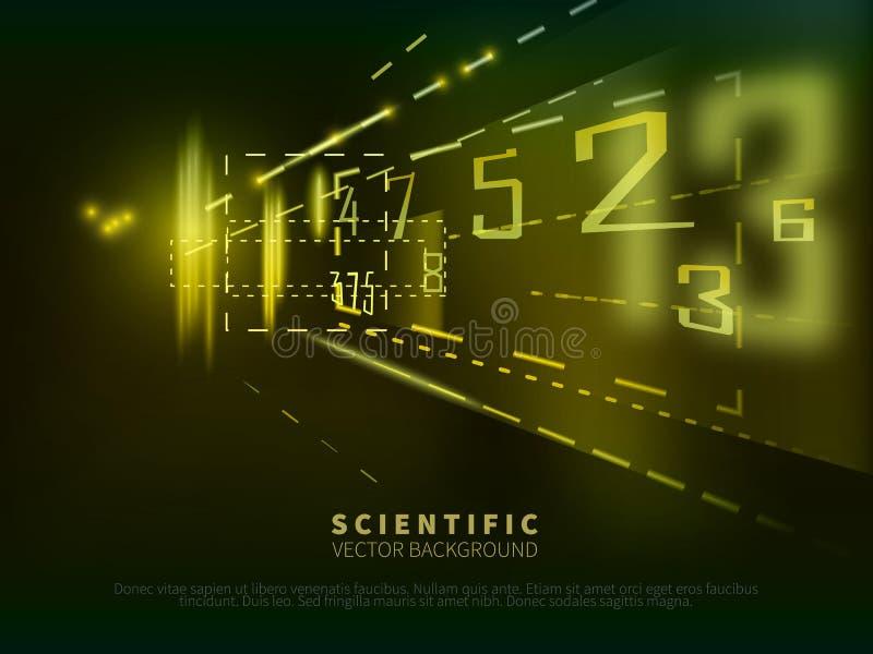 Abstrakt vetenskaplig bakgrund med nummer stock illustrationer
