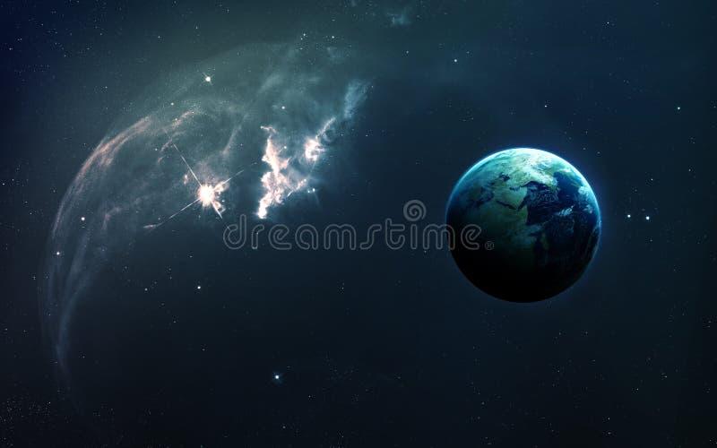 Abstrakt vetenskaplig bakgrund - planeter i utrymme, nebulosa och stjärnor Beståndsdelar av denna avbildar möblerat av NASAnasa g fotografering för bildbyråer
