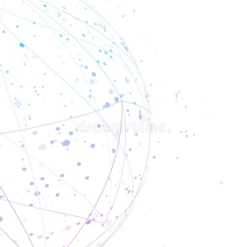Abstrakt vetenskaplig blå layo för anslutningssemispherebakgrund royaltyfri illustrationer