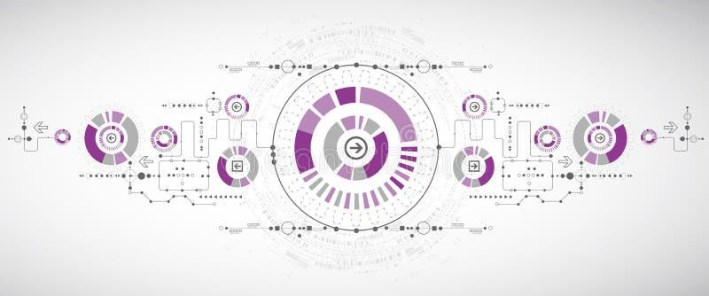 Abstrakt vetenskaplig teknologibakgrund med olik teknologi stock illustrationer