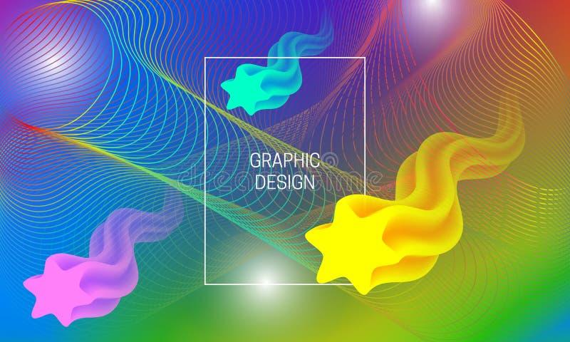 Abstrakt vibrerande bakgrundsdesign med att sväva genomskinliga former och färgrika guillochebeståndsdelar Dynamisk affischmall stock illustrationer