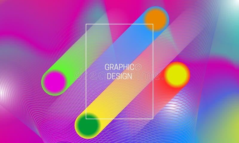 Abstrakt vibrerande bakgrundsdesign med färgrika genomskinliga former och guillochebeståndsdelar Dynamisk affischmall stock illustrationer