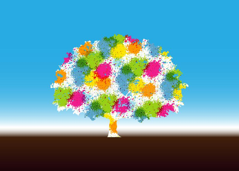 Abstrakt vibrerande trädlogodesign Denna är en trädlogo, det är bra för symboliserar av växer, mänsklig omsorg som är ekologisk,  royaltyfri illustrationer