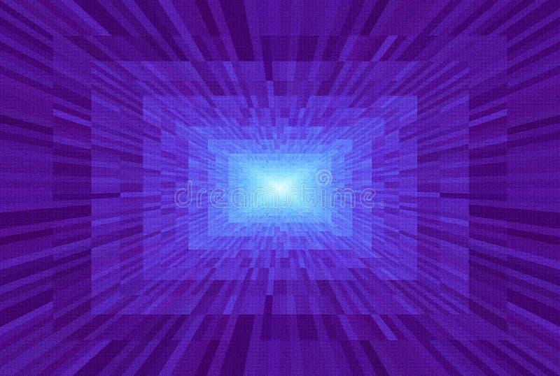 Abstrakt violett lutningbakgrund Textur med rektangulära kvarter i perspektiv Ljus för mosaisk modell på slutet av tunnelen royaltyfri illustrationer