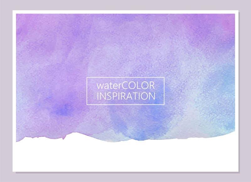 Abstrakt violett och blå vattenfärgtextur Universellt kort, inbjudan, reklambladdesign placera text royaltyfri illustrationer