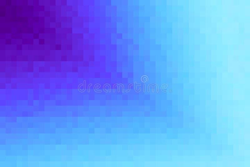 Abstrakt violett och cyan diagonal lutningbakgrund Textur med fyrkantiga kvarter för PIXEL Mosaisk modell stock illustrationer