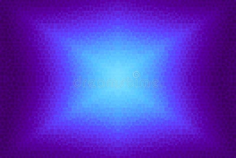 Abstrakt violett och cyan strålningslutningbakgrund Textur med fyrkantiga kvarter för PIXEL Mosaisk modell royaltyfri illustrationer