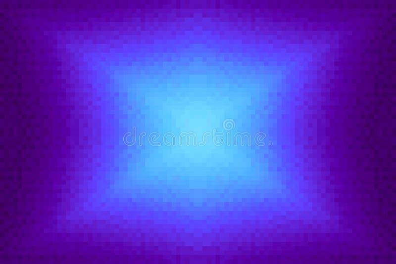 Abstrakt violett och cyan strålningslutningbakgrund Textur med fyrkantiga kvarter för PIXEL Mosaisk modell vektor illustrationer