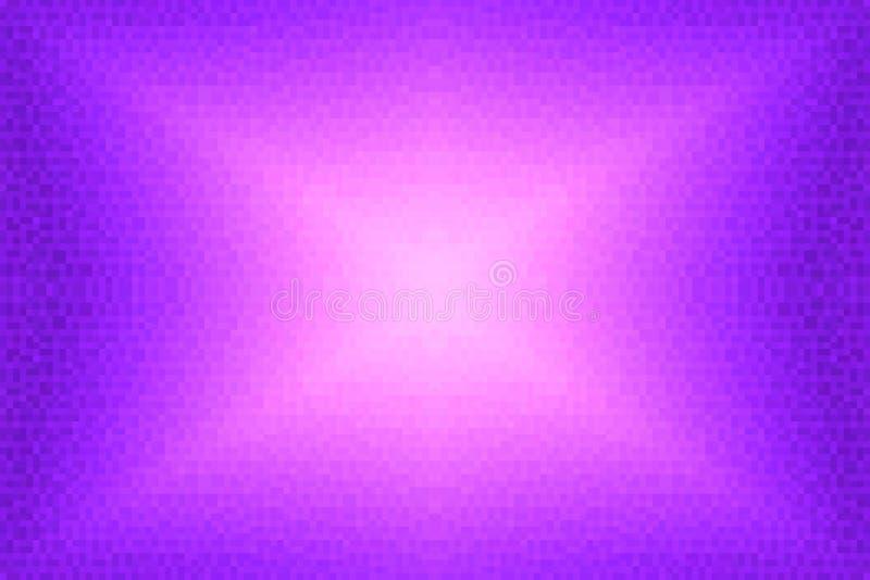 Abstrakt violett och rosa strålningslutningbakgrund Textur med fyrkantiga kvarter för PIXEL Mosaisk modell royaltyfri illustrationer