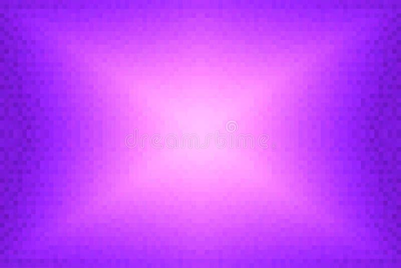 Abstrakt violett och rosa strålningslutningbakgrund Textur med fyrkantiga kvarter för PIXEL Mosaisk modell vektor illustrationer