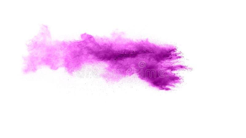 abstrakt violett pulverexplosion på vit bakgrund arkivbilder