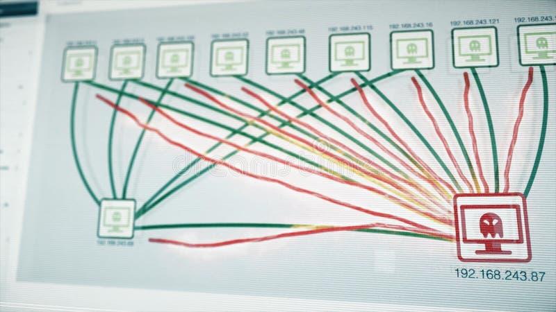 Abstrakt virusinfektion fördelar ut i ett nätverk Digital abstrakt teknologi med hota för virus som är allt arkivbild