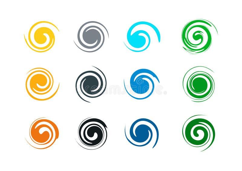 Abstrakt virvelgrungelogo och färgstänkvåg, vind, vatten, flamma, symbolsymbolsmall stock illustrationer