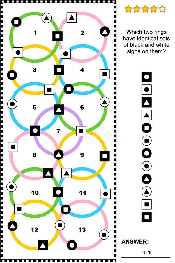 Abstrakt visuellt pussel med olikt tecken på färgrika cirklar royaltyfri illustrationer