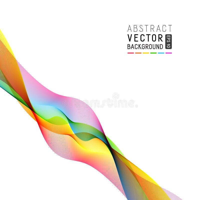 Abstrakt vit bakgrund för universal med den färgrika våglinjen vektor illustrationer