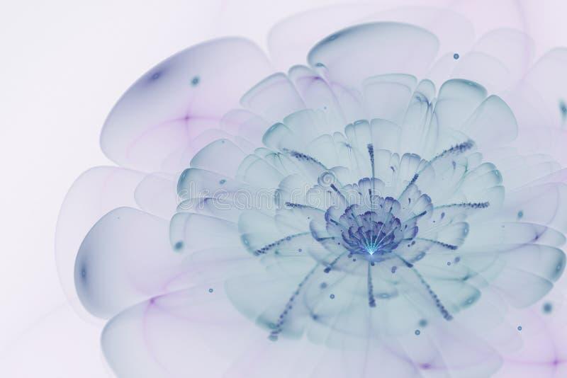 Abstrakt vit bakgrund med blått och lilor blommar i backlig royaltyfri illustrationer